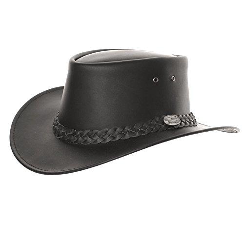 Hawkins - Chapeau australien en cuir imperméable style Bute - Noir - Medium