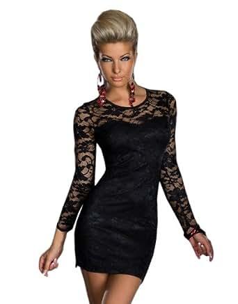 designer tailliertes langarm minikleid aus spitze elegantes kleid dress partykleid schwarz gr e. Black Bedroom Furniture Sets. Home Design Ideas