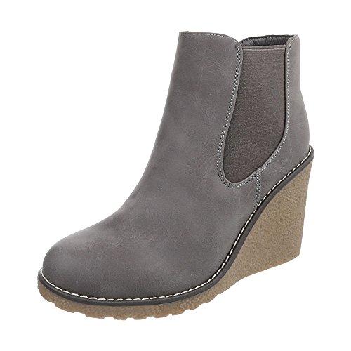 Ital-Design Keilstiefeletten Damen-Schuhe Plateau Keilabsatz/Wedge Keilabsatz Stiefeletten Grau, Gr 39, Zy9133-