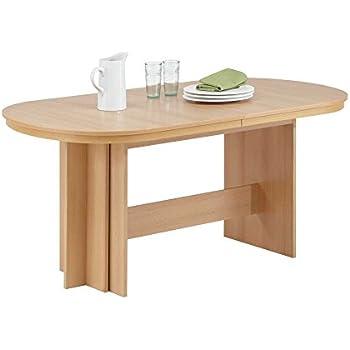 Esstisch ausziehbar oval  Esstisch in Buche oval ausziehbar Pharao24: Amazon.de: Küche ...