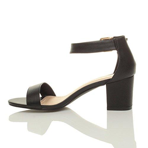 Donna tacco medio fibbia punta aperta caviglia cinghietti sandali taglia Nero opaco