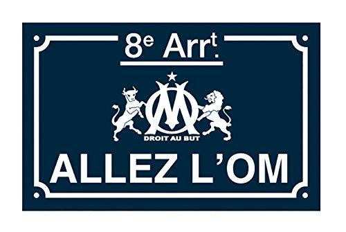 La Plume Dorée Allez L'Om Plaque de Rue Métal Rectangulaire Métal Multicolore 25 x 20 x 0,5 cm