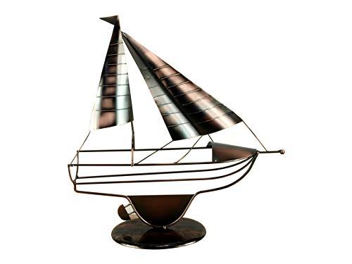 Maritimer Flaschenhalter Segler aus Metall kupferfarben 43x40x9cm Segelschiff Segelboot Geschenkidee...