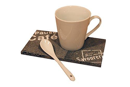 Kaffee Tablett Set 3tlg. Lavastein Keramik - Tasse Platte Tee Löffel