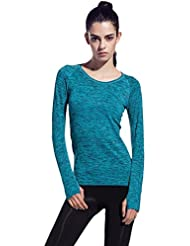 Thriving Prosperous Respirable Quick-Dry Yoga Mujer camiseta con manga larga Cómodo Running Camisetas