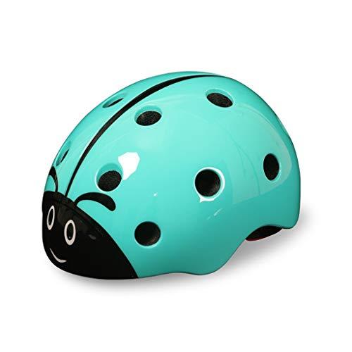 MEIEI Kinderhelm, Sicherheitsschutz, niedlicher Cartoon-Marienkäfer, Abnehmbarer Fahrradhelm, Reithelmschutz (Color : Blue)