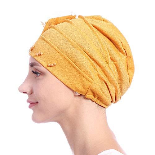 Hemell Haarschmuckhüte Turban Stirnband Perle Chemo Cap Seite Blume Kappen Weiche Baggy Schal Wrap Beanie Mütze Bandanas Headwear (Blume Perle Caps)