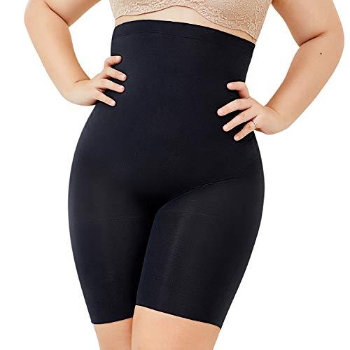Delimira donna pantaloncino modellante vita alta intimo snellente guaina contenitiva nero 46/48