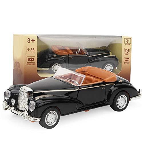 Tnfeeon Classic Die Cast Modell 1:36 Mini Stimulation Alloy Oldtimer Roadster mit Lichtern Sound Modell Toy Vehicle Die Geschenke für Kinder(Schwarz)