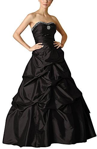 Romantic-Fashion Damen Ballkleid Abendkleid Brautkleid Lang Modell E468 A-Linie Perlen Pailletten DE Schwarz Größe 48 (Satin Rock Perlen)