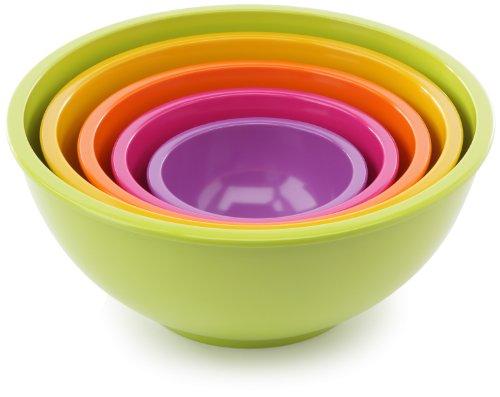 Zak Designs 1703-5130 Set Multicolore de 5 Saladiers Vert/Jaune/Orange/Fuchsia/Lilas