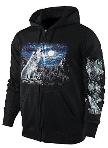 Sweatshirt-Jacke / Hoody WÖLFE AM WASSERFALL Größe M (Herren-wasserfall)