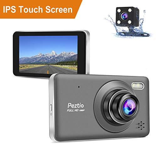 """Dashcam Auto Vorne Hinten, Full HD 1080P Autokamera Dual Kamera mit 4"""" IPS Touchscreen, 170°Weitwinkelobjektiv, G-Sensor, Nachtsicht, WDR, Loop-Aufnahme, Bewegungserkennung, Parkmonitor"""