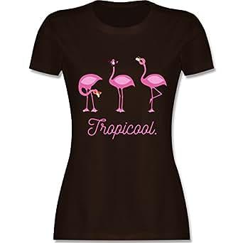 Vögel - Tropicool Flamingo Gang - S - Braun - L191 - Damen T-Shirt Rundhals