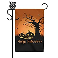 "‏‪Naicissism Halloween Garden Flags, Happy Halloween Decoration 12"" x 18"" Inch House Flag Scary Night Decorative Pumpkin for Outdoor Home Lawn Yard Flag-Pumpkin‬‏"