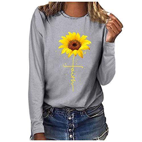 LILIHOT Mode Damen Herbst Langarmshirt Blusen T Shirt Plus Size Bluse Casual Frauen Tops Oberteile Damenmode Plus Size Print Rundhals Langarm T-Shirt Bluse Tops -