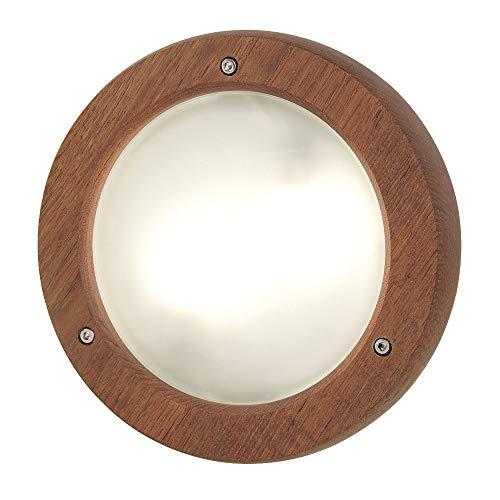 Außen Wand Leuchte TEAK Holz Glas satiniert rund Hof Beleuchtung Terrasse Lampe Nordlux 28381115
