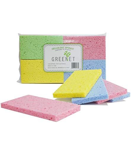 Greenet Cellulosa Spugne di pulizia Confezione da 16 100% naturale Cucine Scrub Spugne + 2 Heavy Duty pagliette - Super durevoli, riutilizzabili e biodegradabili 5,9 x 3,15 x 0,47 pollici Multicolore