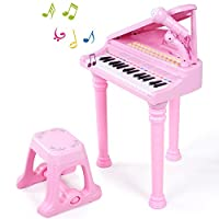 SGILE 31 Keys Piano Toy - Baby Early Education Music Instruments with Microphone & Stool, Gift for Toddler