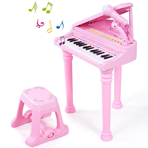 SGILE 31 Keys Piano Toys for Kids - Keyboard Musical Toy Set with Microphone Light and Song for Kids Toddlers Singing Music Development, Audio link with Mobile MP3 IPad PC (A -Large)