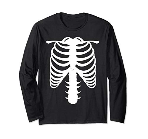 Halloween Skelett Rippenhalterung Kostüm Langarmshirt (Frauen Armee Halloween Kostüm)