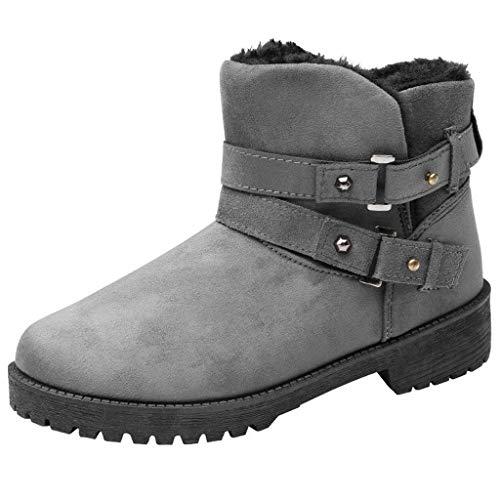 Dorical Damen Winter Schneestiefel,Damenschuhe Warm Snow Boots Kurz Winterschuhe, Strapazierfähiges und atmungsaktives Isotherm-Futter und Gummilaufsohle Gr 35-43(Grau,37 EU)
