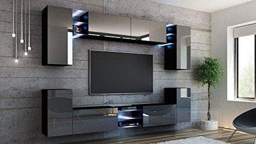 Wohnwand G Grau Hochglanz/ Schwarz ✔ Gehärtetes Glas ✔ ABS- Kanten ✔ Kanten in Hochglanz ✔ MDF-Fronten ✔ LED Beleuchtung ✔ Push To Open ✔ Grifflos ✔ Modern ✔ Design ✔neue bessere Version (anderer Hersteller) - 2