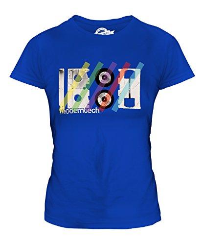 CandyMix Vhs Videokassette Retro Damen T Shirt, Größe X-Small, Farbe Königsblau
