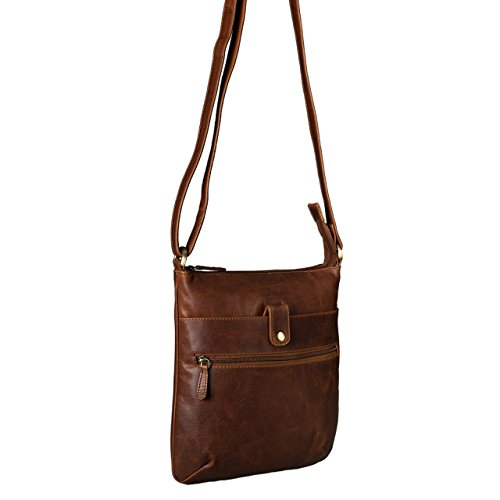 STILORD Lina Borsa a tracolla da donna pelle piccola borsa per tablet 10.1 pollici borsa da sera borsa a mano vera pelle, Colore:cognac marrone scuro cognac marrone scuro