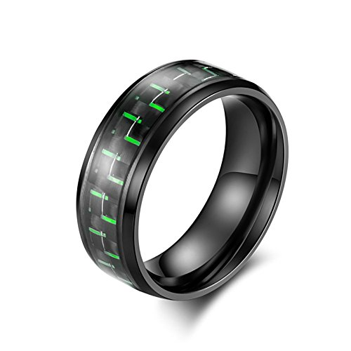 Beydodo Titan Ring Herren Grün Kohlefaser Rund Trauring Partner Ringe Schwarz Gr.52 (16.6) (Grün Titan Kohlefaser Ring)