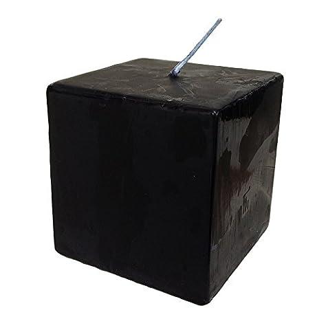 Collumino Solid Colour Black Square Cube Candle 30 hour 7 x 7 cm Dinner Bistro Christmas Black Pillar
