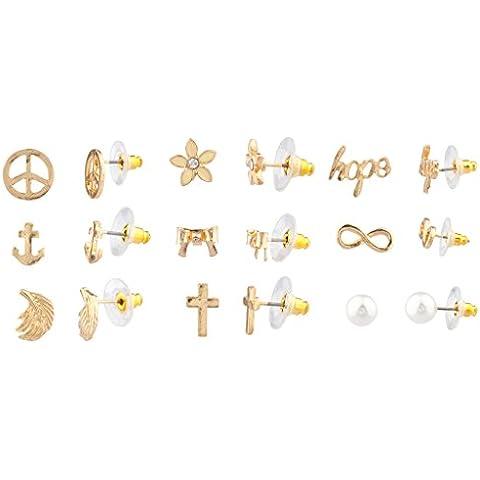 Lux accessori delicato simbolo della pace Anchor ali Croce fiocco floreale Hope infinity orecchini con perla di Faux donne