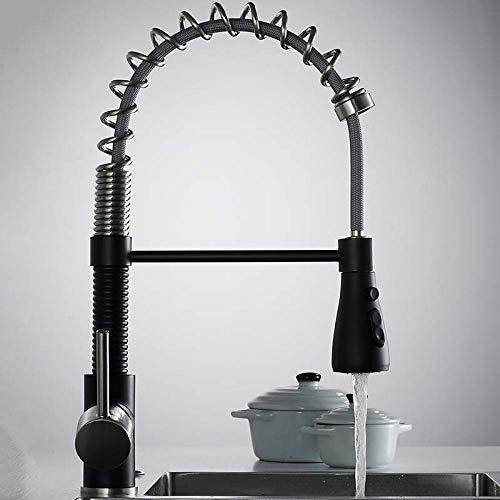 CZOOR Küchenarmaturen Nickel gebürstet Armaturen für Küchenspüle Single Pull Out Spring Auslauf s Tap Hot Cold Water Tap N22-067-Black_plus_SN (Delta Bad Armatur Gebürstet)