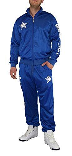 Gorilla-Star Angesagter Herren Glanz-Trainingsanzug Jogginganzug Freizeit-Anzug in super Farben Größe S - 4XL (4XL, blau)