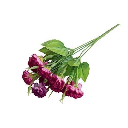 Quanjucheer 1 bouquet d'œillets artificiels - Fleurs artificielles en plastique - Décoration maison/bureau/bouquet de mariage, rouge vin, 35 cm
