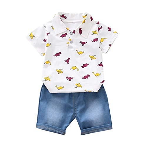 Lookhy Kleinkind Kinder Jungen Kurzarm Dinosaurier Muster Shirt Tops + Denim Hosen Kinderschlafanzüge Baby Mädchen Cartoon Outfits T Shirt Tops + Shorts Sommer Kleidung Set