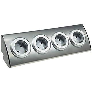 ChiliTec Edelstahl Aufbau-Steckdose mit 4 Schutzkontakt-Steckdosen 250V, 45° Winkel, Innen vorverdrahtet