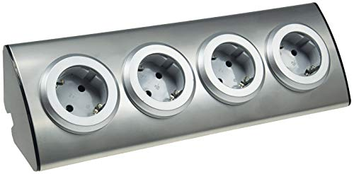 ChiliTec 4-Fach Edelstahl Aufbau-Steckdose mit Schutzkontakt-Steckdosen 230V, 45° Winkel, Innen vorverdrahtet Edelstahl gebürstet -