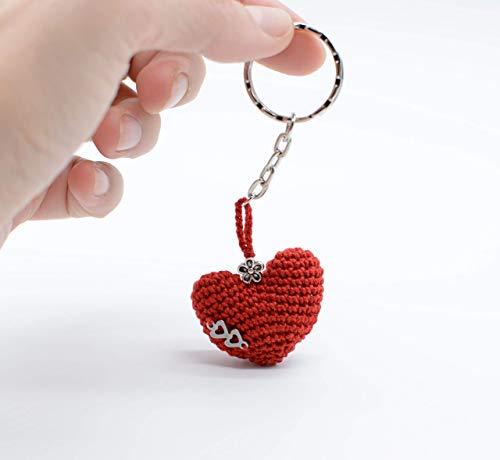 Llavero rojo del corazón de San Valentín, regalo con amor