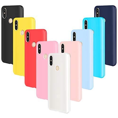 AROYI 9pcs Funda para Xiaomi Mi A2 Lite, Carcasa Protector Ultrafino Silicona TPU Shock-Absorción Anti-rasguños Cover-Negro Rojo Azul Oscuro Rosa Amarillo Azul Morado Azul Claro Traslucido