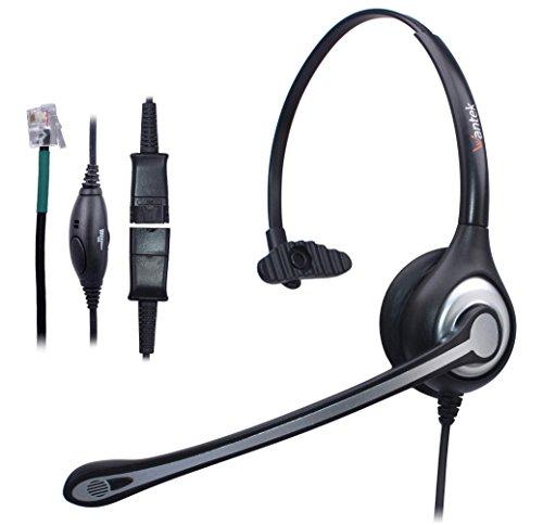 Telefon Headset Mono mit Noise Cancelling Mikrofon, Quick Disconnect, WANTEK Call Center Kopfhörer für Festnetztelefone ShoreTel Polycom NEC Nortel Norstar Meridian Siemens ROLM(600QS2) -