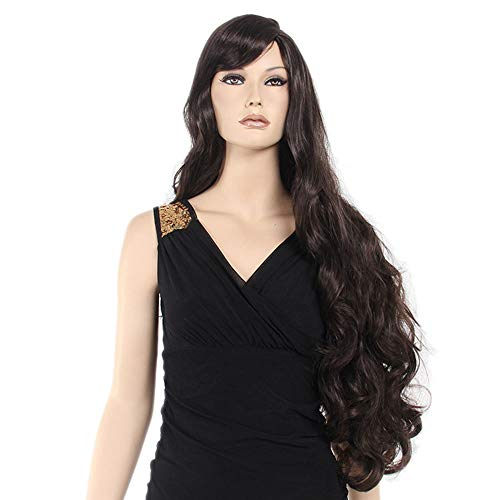 Cvthfyk Dunkelbraune Lange lockige Perücke Damen Perücke Kostüm Perücke mit Free Wig Cap (80cm) (Farbe : Dark Brown, Size : 80cm) (Dunkelbraune Perücke Kostüm)