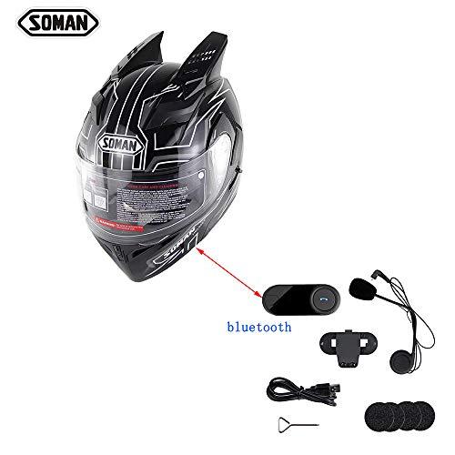 M-s-intercom-system (SWEI Vollverkleidetes Motorrad-Bluetooth-Set, DOT-Zertifizierung/Doppelscheiben-Eckhelm für Herren und Damen für Vier Jahreszeiten (S, M, L, XL, XXL),L)