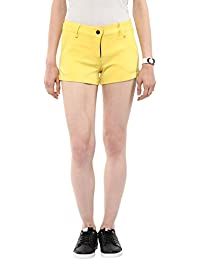 Marie Lucent Yellow Cotton Lycra Hot Pant Short