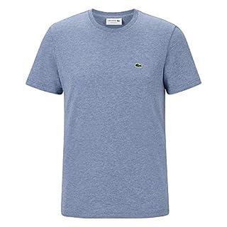 Lacoste TH2038 Men T-Shirt Round Neck,Men´s Basic Tshirt,Tee,Regular Fit,Cruise Blue Chine(ACA),Small (3)