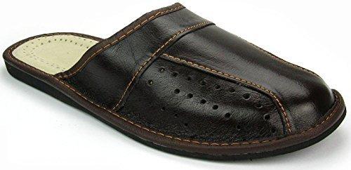 Herren Hausschuhe Leder Pantoffeln Braun M02 (45)