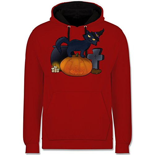 Shirtracer Halloween - Halloween Katze mit Hexenhut - XS - Rot/Schwarz - JH003 - Kontrast Hoodie