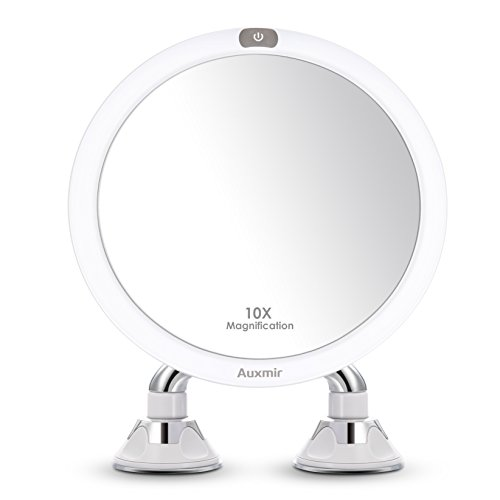 Auxmir Kosmetikspiegel Beleuchtet mit LED Licht, 10X Vergrößerung und 2 Starken Saugnäpfen, Wiederaufladbar, Schminkspiegel Rasierspiegel für Badzimmer, Kosmetikstudio, Spa und Hotel