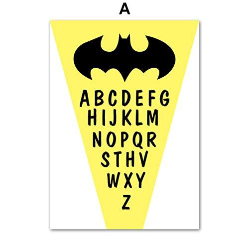 XWArtpic Schwarz Weiß American Movie Superheld Maske Alphabet Wandkunst Leinwand Malerei Nordic Poster Und Drucke Wandbilder Junge Kinderzimmer Dekor A 50 * 70 cm
