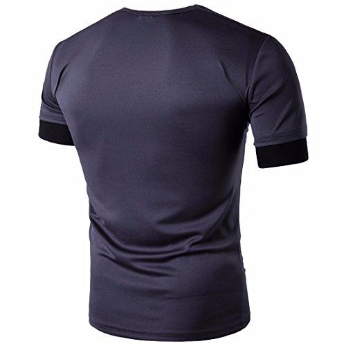 QIYUN.Z Männer Sommer Beiläufige Kragenhülse Kurzhülse T-Shirts Nehmen Passen T-Stücke F056/Grau